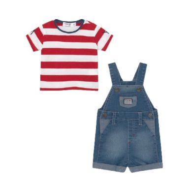 MAYORAL chlapecký set 2ks laclové riflové kraťasy a tričko KR, modrá/červená/bílá