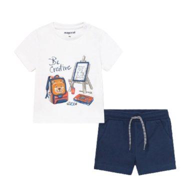 MAYORAL chlapecký set 2ks tmavě modré kraťasy a bílé tričko s obrázkem