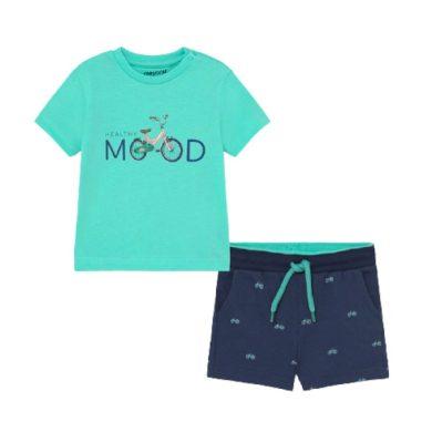MAYORAL chlapecký set 2ks tričko KR a kraťasy s koly, modrá/aqua