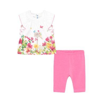 MAYORAL dívčí set 2ks legíny a tričko květiny, bílá/růžová