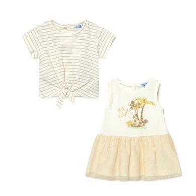 MAYORAL dívčí set 2ks šaty s tylovou sukní a tričko KR, žirafa krémová