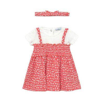MAYORAL dívčí set šaty KR s čelenkou, bílá/ coral růžová