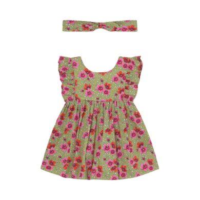 MAYORAL dívčí set 2ks šaty s čelenkou, zelená s květy
