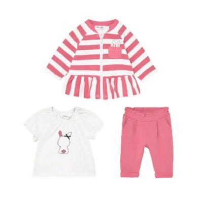 MAYORAL dívčí set 3ks mikina, tričko a kalhoty s králíčkem, bílá/růžová