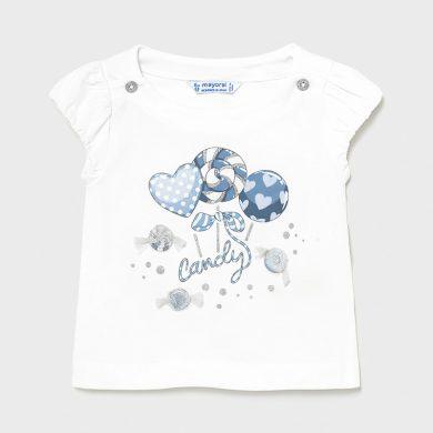 MAYORAL dívčí tričko KR s lízátky, bílá/modrá