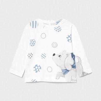 MAYORAL dívčí tričko DR pejsek, bílá/modrá