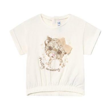 MAYORAL dívčí tričko KR tygřík s mašlí, béžová