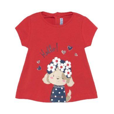 MAYORAL dívčí tričko KR s pejskem, červená