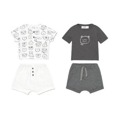 MAYORAL chlapecký set 4ks trička KR a kraťasy se zvířátky, bílá/šedá