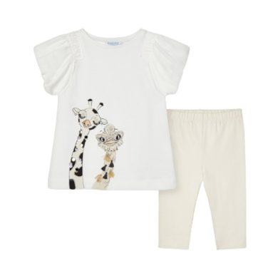 MAYORAL dívčí set 2ks tričko KR s žirafou a 3/4 lesklé legíny, bílá/krémová