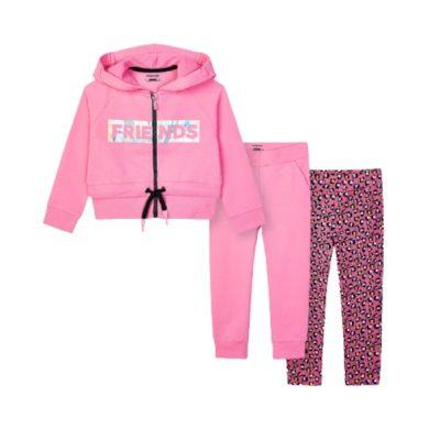 MAYORAL dívčí set 3ks mikina a tepláky, růžová /černá