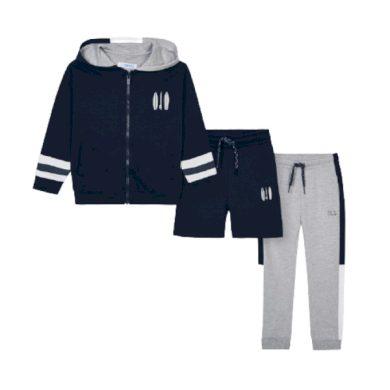 MAYORAL chlapecký set 3ks mikina, tepláky a kraťasy, tmavě modrá/šedá