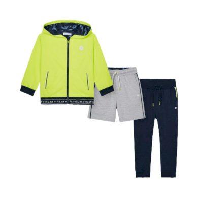 MAYORAL chlapecký set 3ks mikina s kapucí, kraťasy a tepláky, modrá/šedá/zelená
