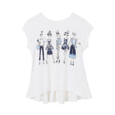 MAYORAL dívčí tričko KR s ženami, bílá/modrá