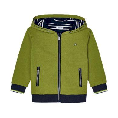 MAYORAL chlapecká mikina s kapucí na zip, zelená