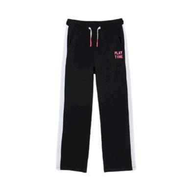 MAYORAL dívčí tepláky s růžovou tkaničkou, černá/bílá