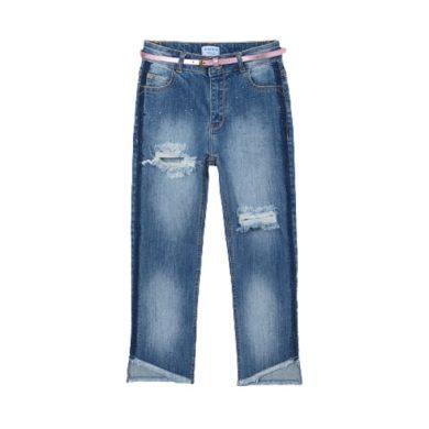 MAYORAL dívčí slim džíny s páskem a kamínky