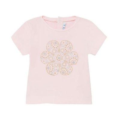 MAYORAL dívčí tričko KR růžové s květem z třpytek