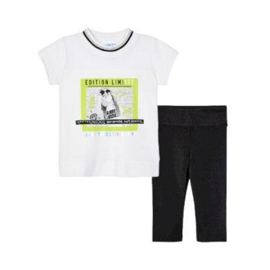 MAYORAL dívčí set 2ks tričko KR a lesklé legíny, bílá/černá