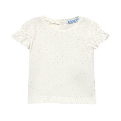 MAYORAL dívčí krémové tričko KR s tečkami