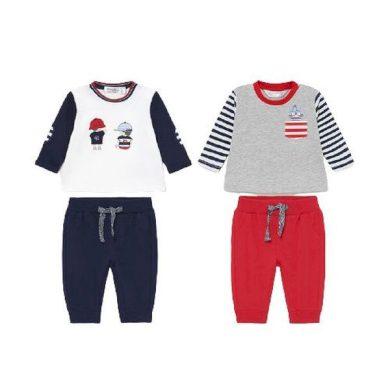 MAYORAL chlapecký set 4 ks tepláky a trička DR, červená/modrá/bílá/šedá