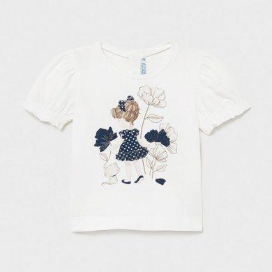 MAYORAL dívčí tričko KR dívka s kočkou, bílá/modrá