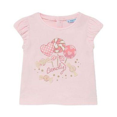 MAYORAL dívčí tričko KR s lízátky, světle růžová