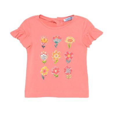 MAYORAL dívčí tričko KR s květy, růžová