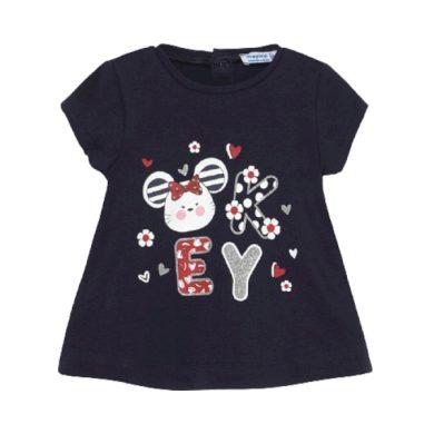 MAYORAL dívčí tričko KR s myškou a písmeny, tmavě modré