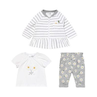 MAYORAL dívčí set 3 ks mikina, tričko KR a kalhoty s kopretinou, bílá/šedá