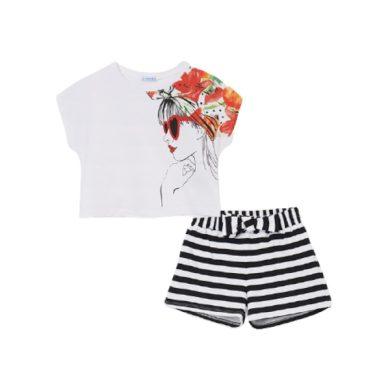 MAYORAL dívčí set 2ks kraťasy a tričko KR s pruhem, bílá/černá