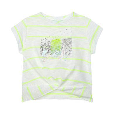 MAYORAL dívčí tričko KR s neon proužky a flitry, bílá