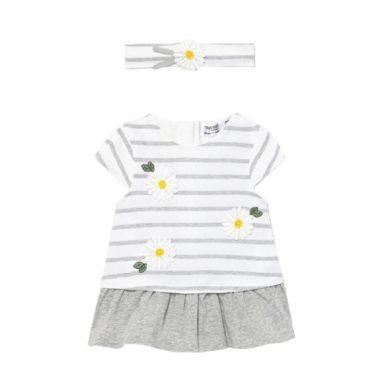 MAYORAL dívčí pruhované šaty s čelenkou kopretina, bílá/šedá