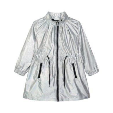 MAYORAL dívčí metalický kabátek, stříbrná