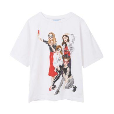 MAYORAL dívčí tričko KR dívky s mobilem, bílá