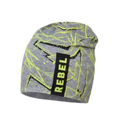 BROEL chlapecká čepice šedá Karol nápis rebel zelená