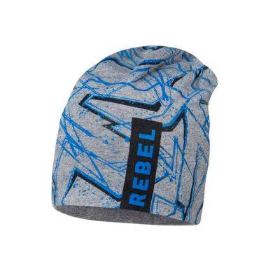 BROEL chlapecká čepice šedá Karol nápis rebel modrá
