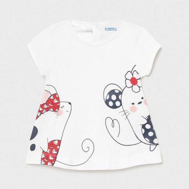 MAYORAL dívčí tričko KR myšky, bílá