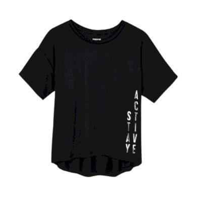 MAYORAL dívčí tričko KR černé se stříbrným nápisem