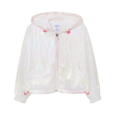 MAYORAL dívčí lesklá větrovka s kapucí, bílá/růžová