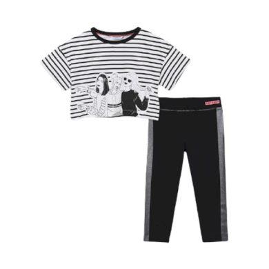 MAYORAL dívčí set legíny a tričko KR, černá/bílá/stříbrná