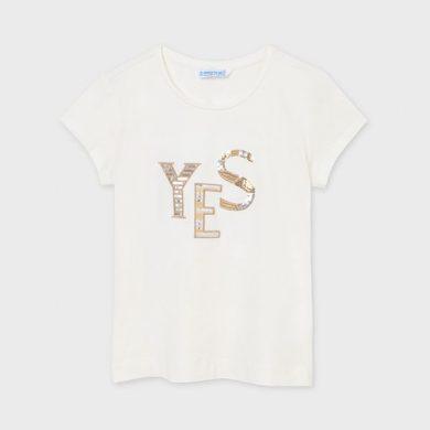 MAYORAL dívčí tričko KR krémové s nápisem s flitry