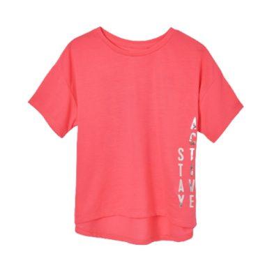 MAYORAL dívčí tričko KR neon růžové se stříbrným nápisem