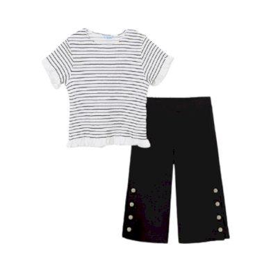 MAYORAL dívčí set kalhoty a tričko KR, bílá/černá