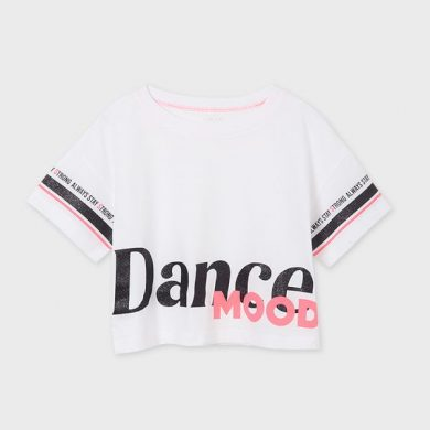 MAYORAL dívčí taneční tričko KR bílé s nápisem