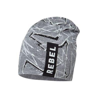 BROEL chlapecká čepice šedá Karol nápis rebel bílá