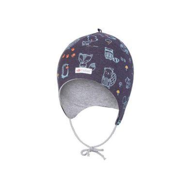LITTLE ANGEL Čepice zavazovací ANIMALS Outlast ® - tm.modrá/šedý melír