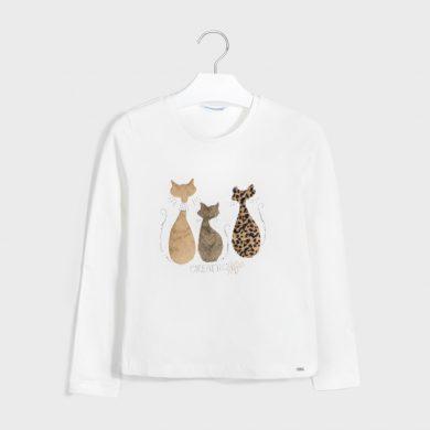 MAYORAL dívčí triko DR Kočky - krémová