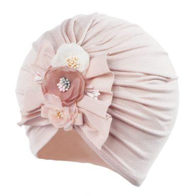 JAMIKS čepice THYRA 3 květy nad sebou růžová