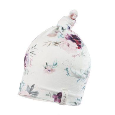 JAMIKS dívčí čepice s uzlíkem INGMAR fialový vzor